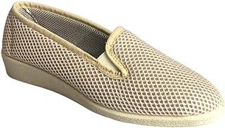 Bocciolo Pantofola Donna Estiva Comoda Morbida Leggera Chiusa Dietro con Due Elastici in Tessuto Beige 55380