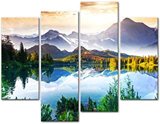 Mountain&Lake 4 Pieces Modern Canvas Painting Wall Art The Picture For Home..