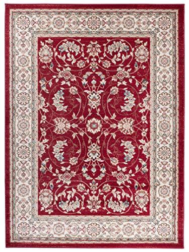 Pamir K473A - Alfombra moderna para salón y ambientes clásicos y modernos, diseño floral estilo Zigler Herati rojo
