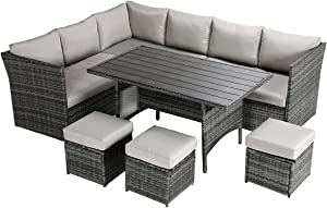 YASRKML 7 Piece Outdoor Patio Furniture Sets, Wicker Patio Sectional Sofa Sets with Dining Table, Manual Rattan Outdoor Sectional Furnitures Patio Conversation Sets Clearance for Deck, Garden