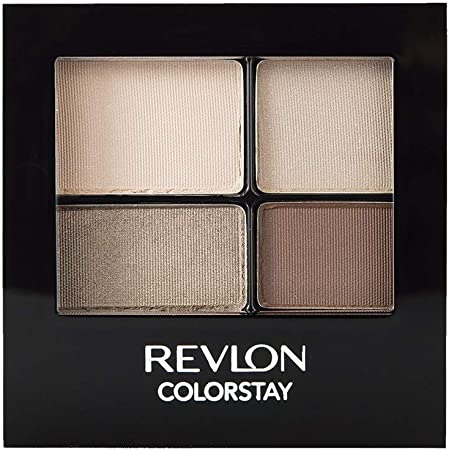 REVLON ColorStay 16 Hour Eyeshadow Quad with Dual-Ended Applicator Brush, Longwear, Intense Color Smooth Eye Makeup for Day & Night, Addictive (500), 0.16 Oz