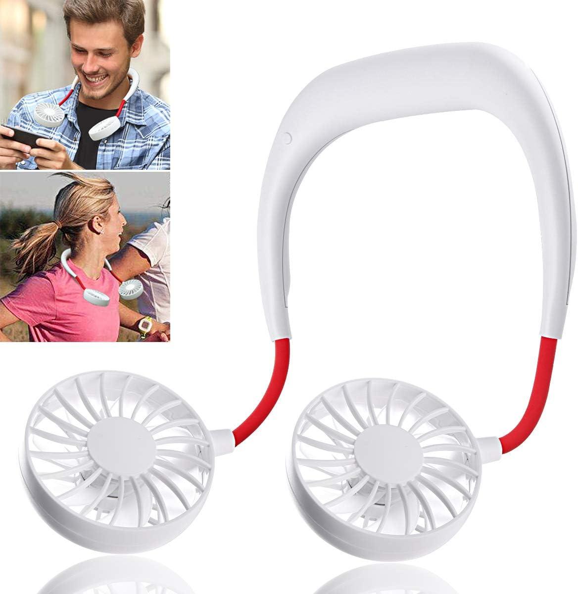 OPOLEMIN Hands Free Portable Neck Fan - Rechargeable Mini Personal USB Fan, Headphone Design Wearable Neckband Fan, USB Neck Fan for Home Office Travel Indoor Outdoor Activities (White)