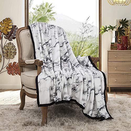 Fansu Kuscheldecke Flanell Fleecedecke, 3D Moderner Minimalistischer Marmor Weich und Warm Microfaser Leichte Plüsch Wohndecke Sofadecke/Tagesdecke für Sofa und Bett (150x200cm,Weiß)