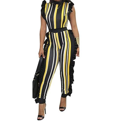 ea76cd3d3834 Uni Clau Women s Sleeveless Stripe Ruffle Bodycon Long Pants High Waist Party  Jumpsuits Romper Plus Size