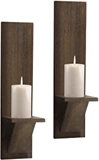 Wood Wall Sconce Candle Holder (Set of 2), Wall Mounted Wooden Candle Holders Rustic Pillar Candle Floating Hanging Shelf ...