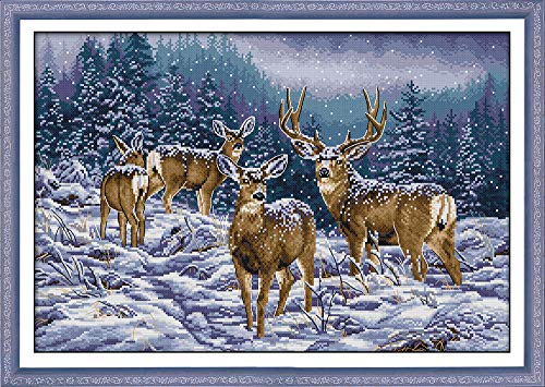 Cross Stitch Kits, Winter Deer Herd Animals Awesocrafts Easy Patterns Cross Stitching Embroidery Kit Supplies Christmas, Stamped or Counted (Deer, Counted)