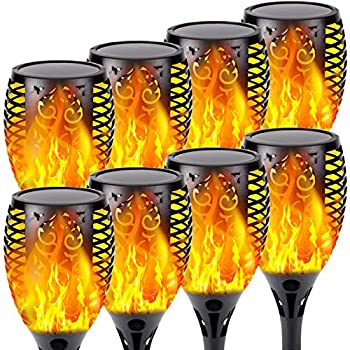 8-Pack Solar Flame Torch  Super Larger Size & Upgraded Vivid Flame  Waterproof Solar Lights Outdoor Decorative with Flickering Flame Super Bright Outdoor Lights for Garden Patio Landscape Pathway