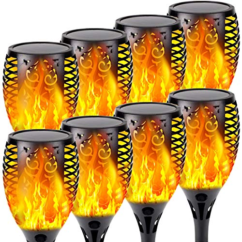 8-Pack Solar Flame Torch (Super Larger Size & Upgraded Vivid Flame), Waterproof Solar Lights Outdoor Decorative with Flickering Flame, Super Bright Outdoor Lights for Garden Patio Landscape Pathway