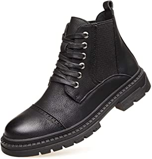 2019 Mens New Lace-up Flats Mens Motocycle Combat Boots for Men Ankle Shoes Lace Up Style Elastic Bands Microfiber Leather Cap Toe Breathable Lined Anti Slip Durable Soft Black