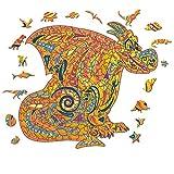 Juiux - Puzzle de madera para adultos, forma única, piezas de puzle de animales con forma de dragón de dibujos animados
