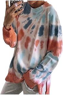 Zimaes Womens Sweatshirt Tie Dye Print Loose Casual Round Neck Blouse Top