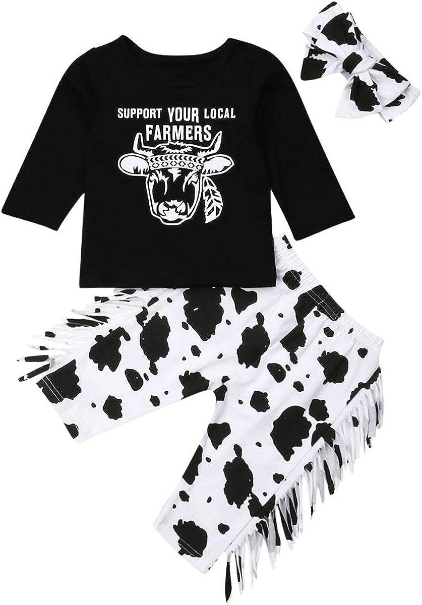 3PCS Baby Girl Outfits Clothes Set Fashion Long Sleeve T-Shirts Tee Tops Cartoon Tassel Pants+Headband