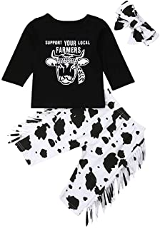 3PCS Baby Girl Outfits Clothes Set Fashion Long Sleeve T-Shirts Tee Tops Cartoon Tassel Pants+Headband