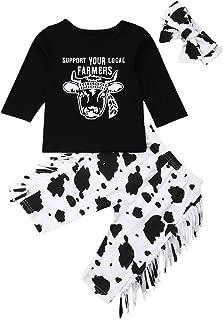 3Pcs/Set Baby Girl Long Sleeve T-Shirt Tops+Tassel Cow Long Pants+Headband Outfits