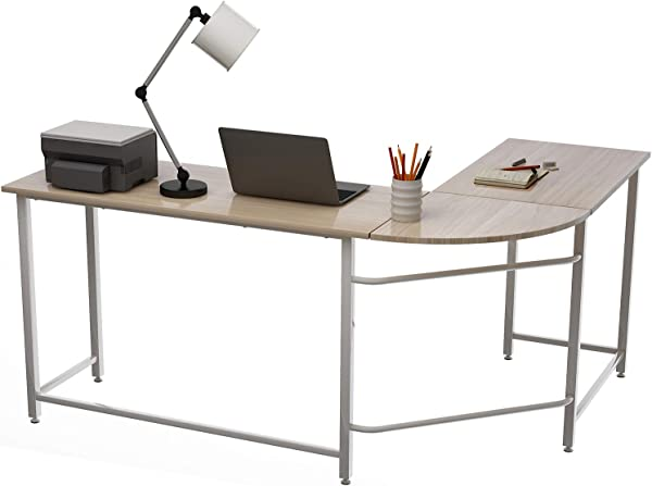 Cungon Online Modern L Shaped Desk Corner Computer Desk PC Laptop Gaming Table Study Writing Table Workstation Home Office Wood Table Metal Legs Oak