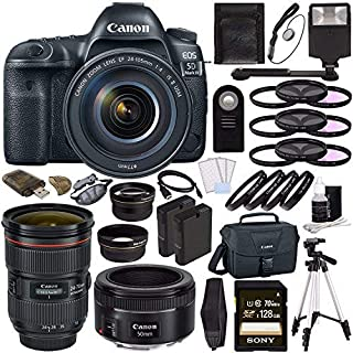 Canon EOS 5D Mark IV DSLR Camera (Body Only) + Canon EF 24-70mm f/2.8L II USM Lens + Canon EF 50mm f/1.8 STM Lens + Batter...