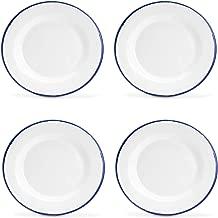 Argon Tableware Traditional Enamel White Dinner Plates - 219mm (9