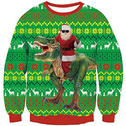 Loveternal Ugly Christmas Sweater Dinosaur Weihnachtspullover Herren 3D Druck Pullover Langarm Hässliche Xmas Santa Jumper XL