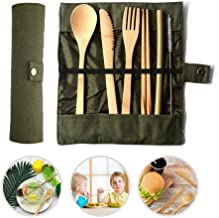 7 Pack Bamboo Utensils, Hamkaw Reusable Wooden Cutlery Travel Set for Kids & Adults, Outdoor Portable Utensils with Carrying Case