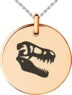 Stainless Steel Tyrannosaurus Rex Fossil Small Medallion Circle Charm Pendant Necklace