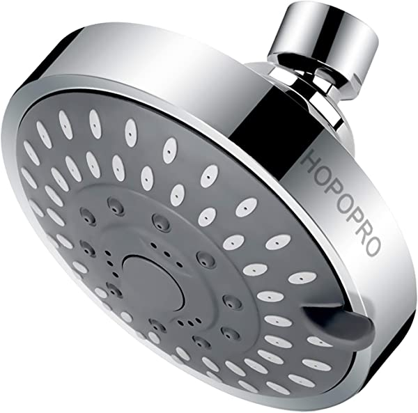 High Pressure Showerhead HOPOPRO 2019 Upgraded Fixed Showerhead 5 Spray Settings Multi Functional Bathroom Showerhead 4 Inch High Flow Shower Head