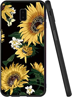 Yoedge Case for Galaxy J6 Plus/Galaxy J6 Prime Case, Black Case with Pattern [Ultra Slim] Shockproof Flexible Soft Gel TPU Silicone Back Cover Bumper Skin for J6 + / J6 Prime (Sunflower)