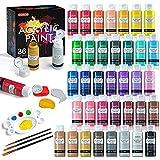 Juego de pintura acrílica, Shuttle Art 36 colores (60 ml, 2 oz) con 3 pinceles y 1 paleta, pintura para manualidades, pigmentos ricos, no tóxico para artistas, principiantes y niños en las rocas