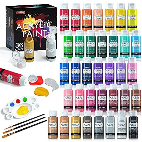 Acrylfarben Set, Shuttle Art 36 Acrylfarben in Flaschen (je 60ml) mit 3 Malpinseln und 1 Palette, ungiftig, für Leinwand, Steine, Holz, Glas, Tontöpfe geeignet