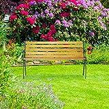 Relaxdays Gartenbank, 2-Sitzer, Holzstreben, Gusseisen, Outdoor, Balkon & Terrasse, Bank HBT 73,5 x 126 x 52,5 cm, natur - 3