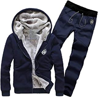 Mogogo Men's Fleece Athletic Zip-Front 2-Piece Tracksuit Outfit with Hood