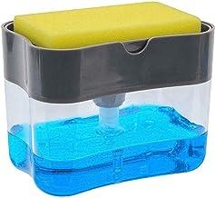Exseson Plastic 2 in 1 Liquid Soap Dispenser Pump with Sponge Holder Caddy Home Bathroom Kitchen Accessories Kitchen Sink Dishwasher (Multi Color)