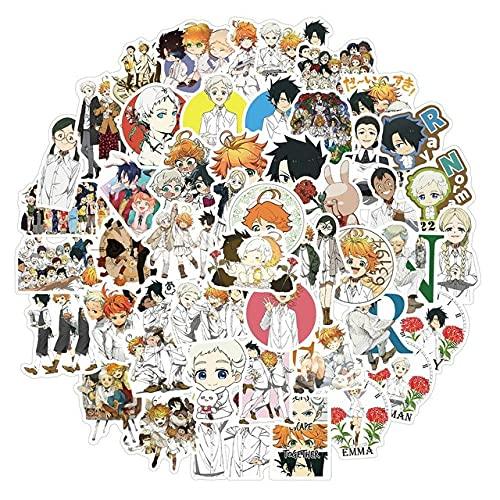 50Pcs The Promised Neverland Stickers Anime Calcomanía para refrigerador Nevera Monopatín Laptop Equipaje Pegatinas Graffiti Toy - A-50pcs