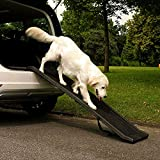 Holdfiturn Pet Ramp Folding Portable Pet Dog Ramp Cars Back Seat Ladder Lightweight Collapsible Strong Easily Adjustable Non-slip Portable Dog Stairs (62'' x 16'' x 3.5'')