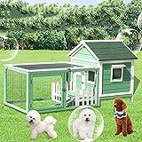 DHYBDZ Perrera para Mascotas al Aire Libre con jaulas, casa para Perros Resistente a la Intemperie con Porche, Bandeja extraíble, fácil Limpieza, Conejo, Pollo, Gato, casa,Verde