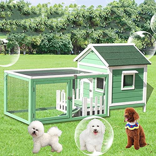DHYBDZ Cuccia per Animali da Esterno con Gabbie, Cuccia per Cani Resistente alle intemperie con Veranda, Vassoio Rimovibile, Facile Pulizia, Coniglietto, Pollo, Gatto, casa,Verde