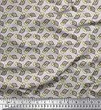Soimoi Grau Poly Georgette Stoff Schildkröte Ozean Drucken
