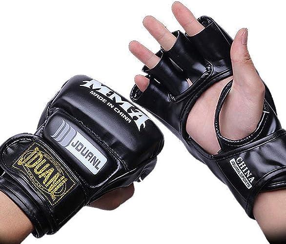 KMCC Gant Boxe Moitié Doigt Gants De Boxe Kick Boxe Boxe Thai Gant en Cuir PU Formation Boxer Combat Kick Boxing Hommes