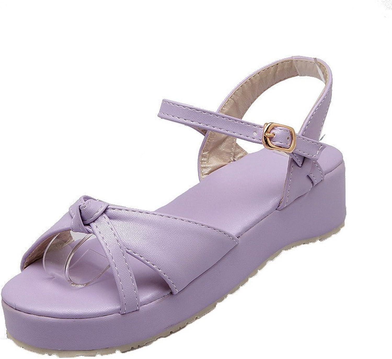 WeiPoot Women's Buckle Low-Heels PU Solid Open-Toe Sandals, EGHLH005815