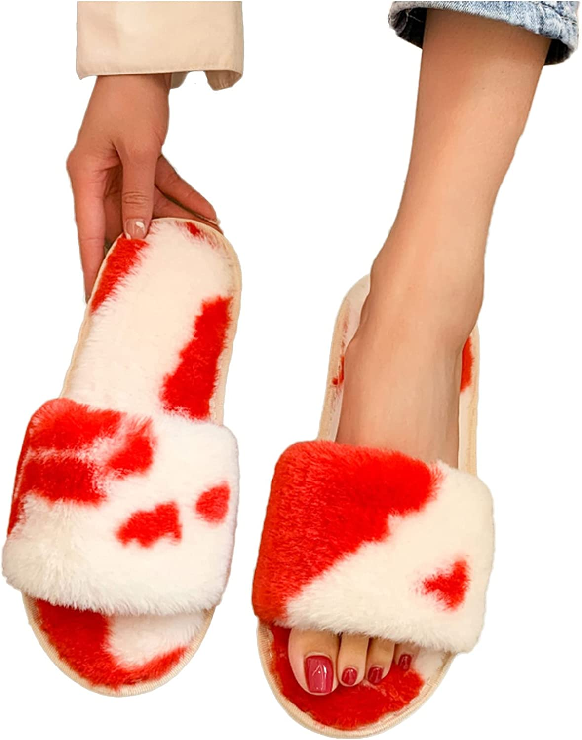Hunauoo Slippers Albuquerque Mall for Women Fashionable Thick Warm Furry Slip Cotton