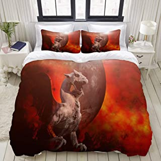 """Mokale Bedding Duvet Cover 3 Piece Set - Flying Dragon Sculpture Blood red Moonlight - Decorative Hotel Dorm Comforter Cover with 2 Pollow Shams - Queen 90""""x90"""""""