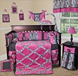 SISI Baby Bedding - (Purple) Zebra Princess 15 PCS Girl Crib Nursery Bedding Set