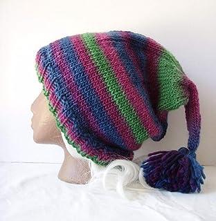 4414f93a Purple Blue Green Striped Beanie Handknit Tasseled Stocking Cap Wool Elf Hat  Size XXL