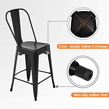 Metal Bar Stool Set of 4 Counter Height Barstool with Back 24 Inches Seat Height Industrial Bar Chairs Patio Stool Stackable