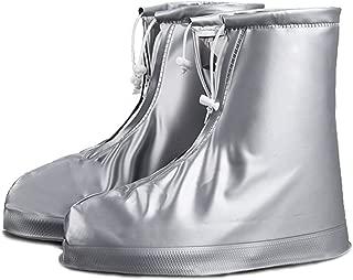 UNPAD Rain Shoe Covers PVC Waterproof Reusable Unisex Snow Boots Overshoes with Non-Slip Rubber Soles for Men Women Kids