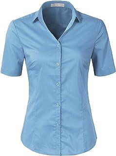 H2H Women's Slim Fit Button Down Dress Shirt V-Neck Short Sleeve Blouse Top Office Wear