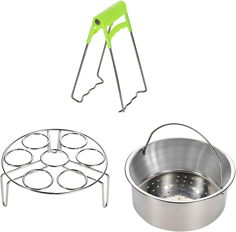 Steamer Basket Rack Set For Instant Pot Accessories Fits Instant Pot 5 6 8qt Pressure Cooker With Foldable Bowl Plate Dish Clip Clamp Stainless Steel 3 Packs