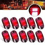 ALFU 10pcs Red 12-24v 6LED Side Marker Indicator Lights 2.5 inch Waterproof Sealed Side Clearance Marker Light Lamp for Trailer Truck Front Rear Boat Deck Rv Camper