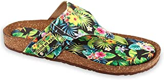 Colour Me Mad Green Tropical Printed, Natural Cork, Washable, All Weather, Vegan, Made in India, PETA Certified, Women Sandals