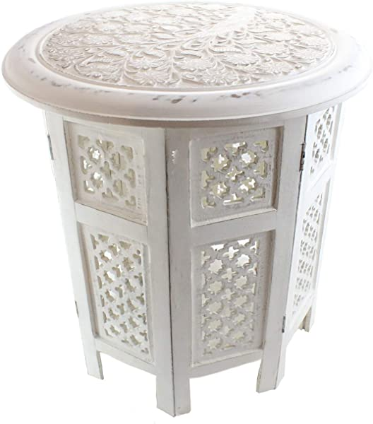 Well Pack Box 18 Hand Carved Octagon Coffee End Table 18 Distressed Whitewash