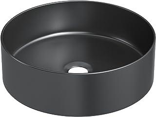 STARBATH PLUS Lavabo Cerámica Sobre Encimera Redondo Negro Mate 35 x 35 x 12 cm SFCIL-MB